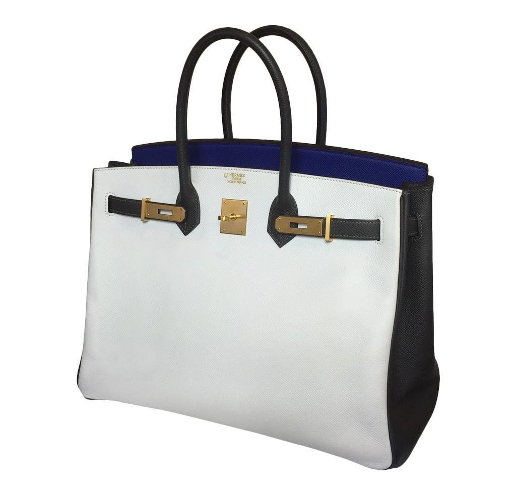 dc865efe2b41 Hermes BIRKIN 35 Tri-color Special Order Horseshoe- Blue Electric White  Graphite