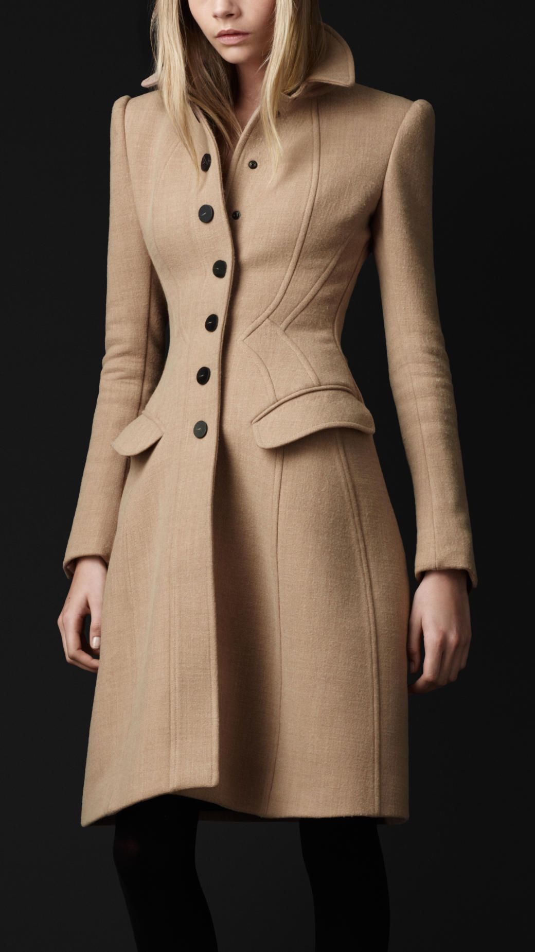 cd9e7ffdd66 Burberry prorsum Crêpe Wool Tailored Coat in Beige (fudge)