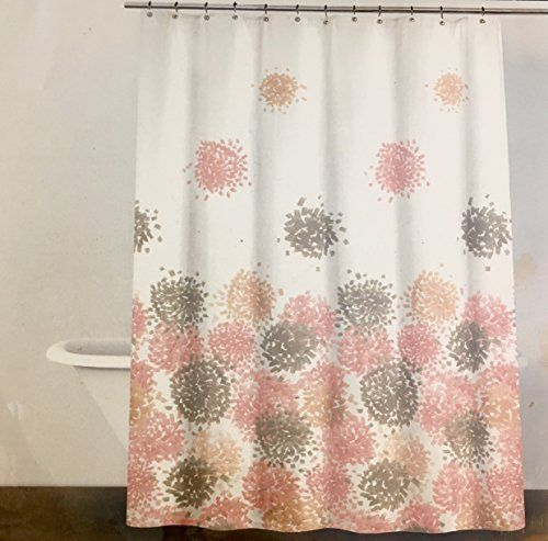 DKNY Brushstroke Floral Cotton Shower Curtain By (Coral Blush)