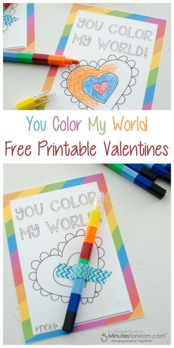You Color My World  Free Printable Valentines is part of Valentines printables free, Valentine's day printables, Valentines printables, Valentines day coloring, Valentine coloring, Valentine's cards for kids - Encourage coloring with these  You Color My World  Free Printable Valentines  They are a great alternative to the traditional candy valentines