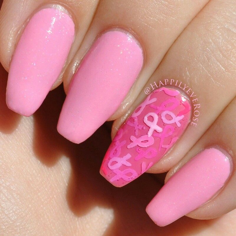 Nice a nail art Pink/fushia and pink ribbons | Breast Cancer ...