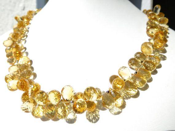 Gelbe Citrin Kette gelb Natur Tropfen Silber  von ElstarDesign