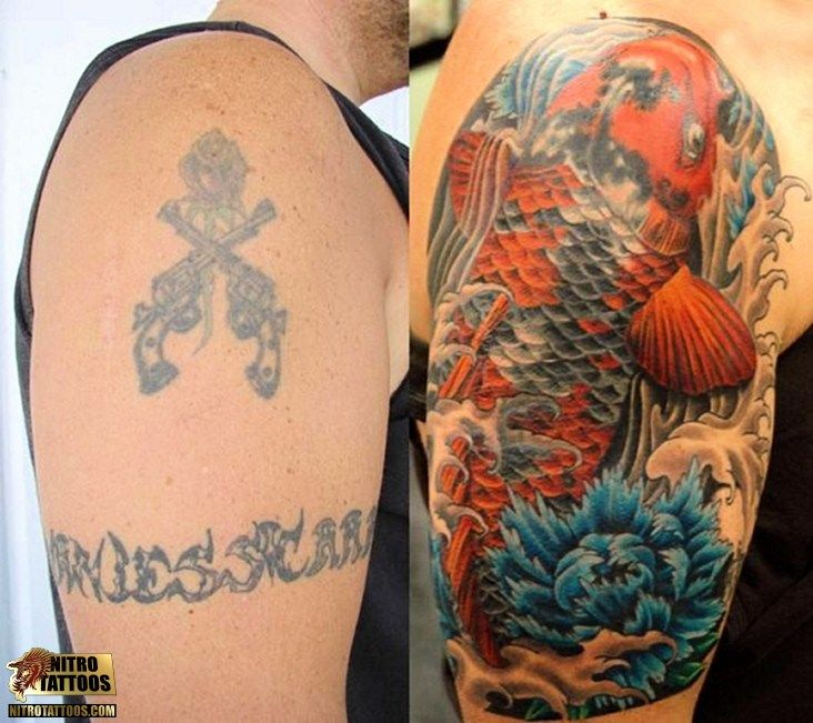 Koi fish cover up tattoo cover up ideas pinterest for Koi fish cover up