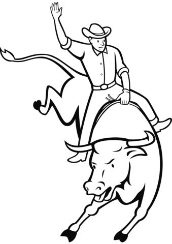Rodeo Bull Riding Coloring Page Coloring Pages Bear Coloring Pages Cars Coloring Pages