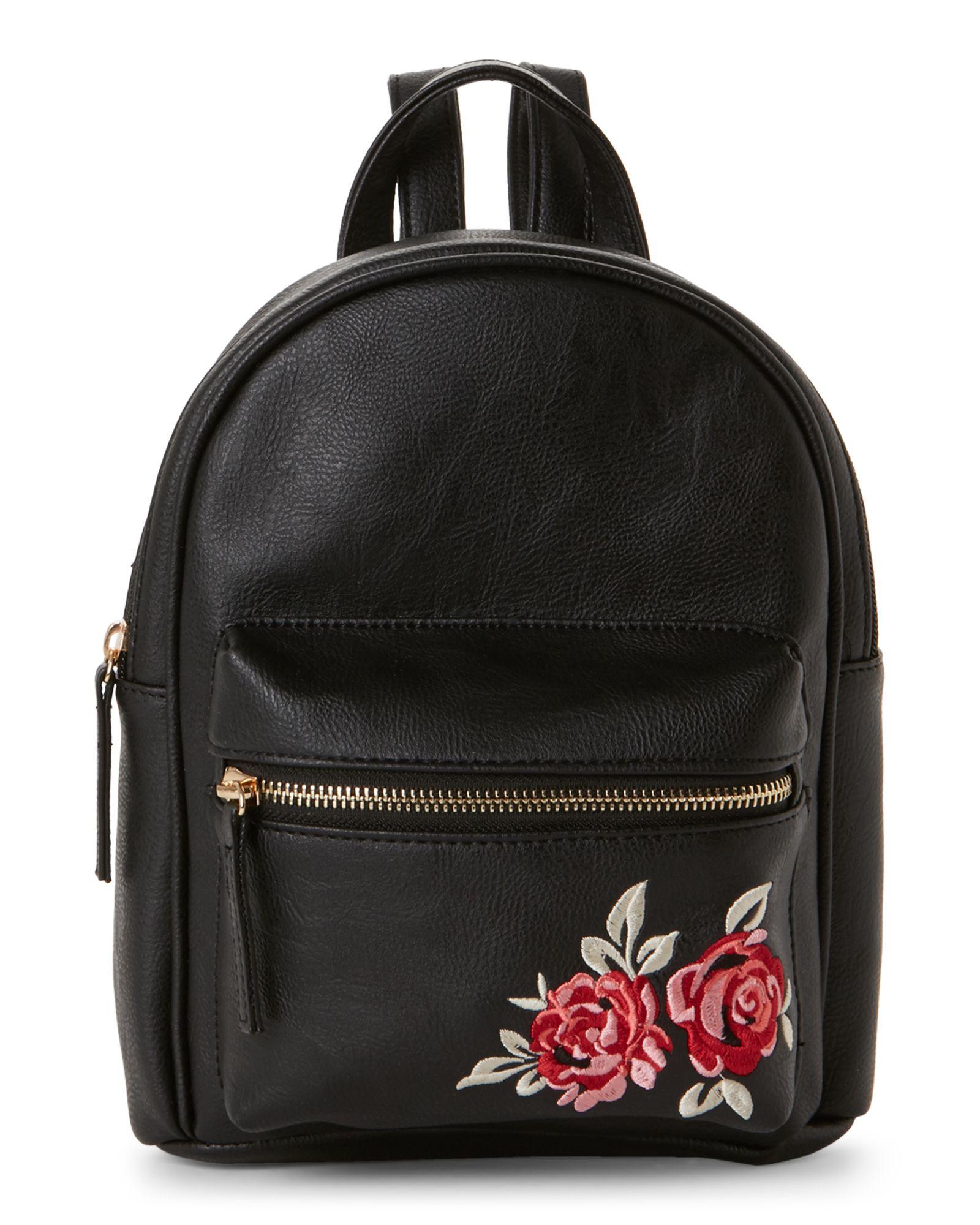 20fb249765f Omg! Accessories Rose-Embroidered Mini Backpack Cute Mini Backpacks