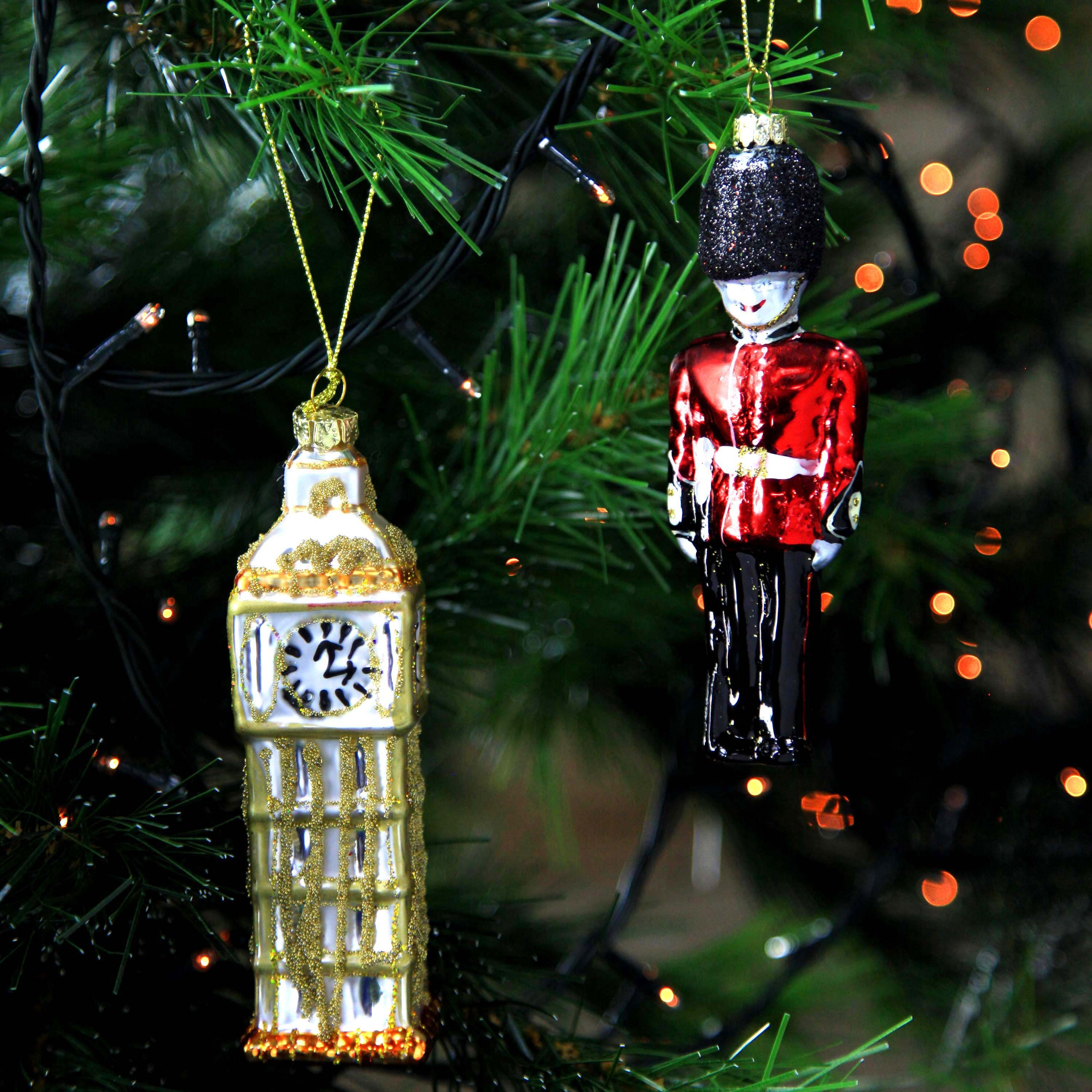 London Themed Christmas Tree Glass Baubles Big Ben Solider Decorations Christmas Tree Baubles Glass Christmas Tree Christmas Tree Themes