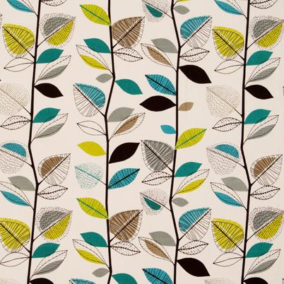 Fabric pattern Autumn Leaves Teal, from Terryu0027s Fabrics #teal