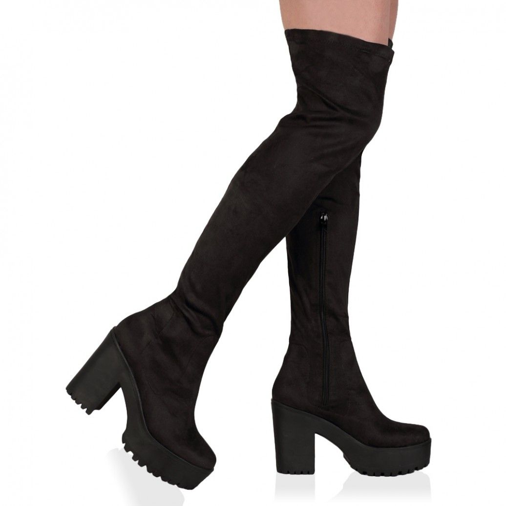 Public Desire || Amie Black Faux Suede Over The Knee Chunky Boots
