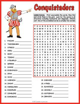 spanish conquistadors word search puzzles for kids on tpt conquistador spanish history for. Black Bedroom Furniture Sets. Home Design Ideas