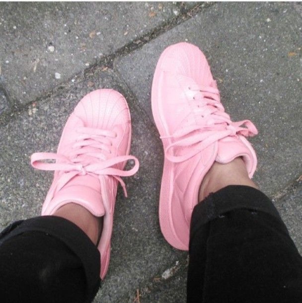 Shoes: pink, adidas, fashion, tumblr, tumblr outfit, tumblr girl .