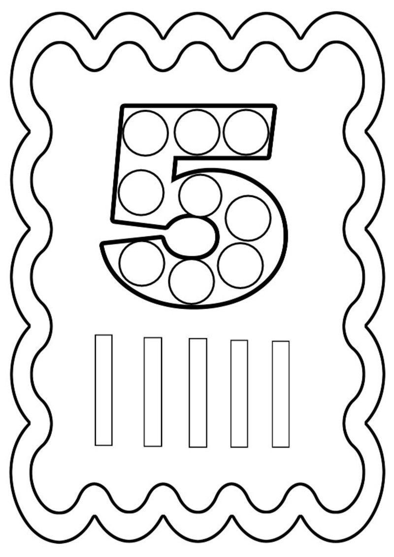 Coloriage chiffre 5 colorier ou gommettes gommette - Chiffre a colorier ...