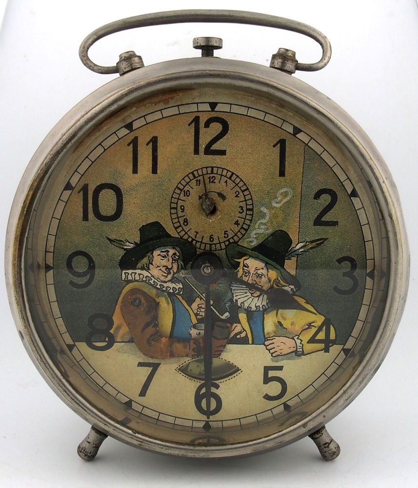 Junghans Rare Early 1900's Double Animated Gamblers Throwing Dice Alarm Clock  | eBay