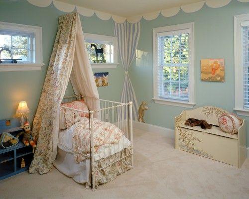 Love this little nursery - crib, drape, painted bench