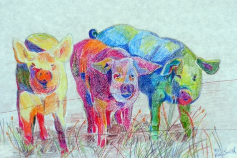 Piggin' Out on Lime Snowcones- Painting by artist Kay Smith