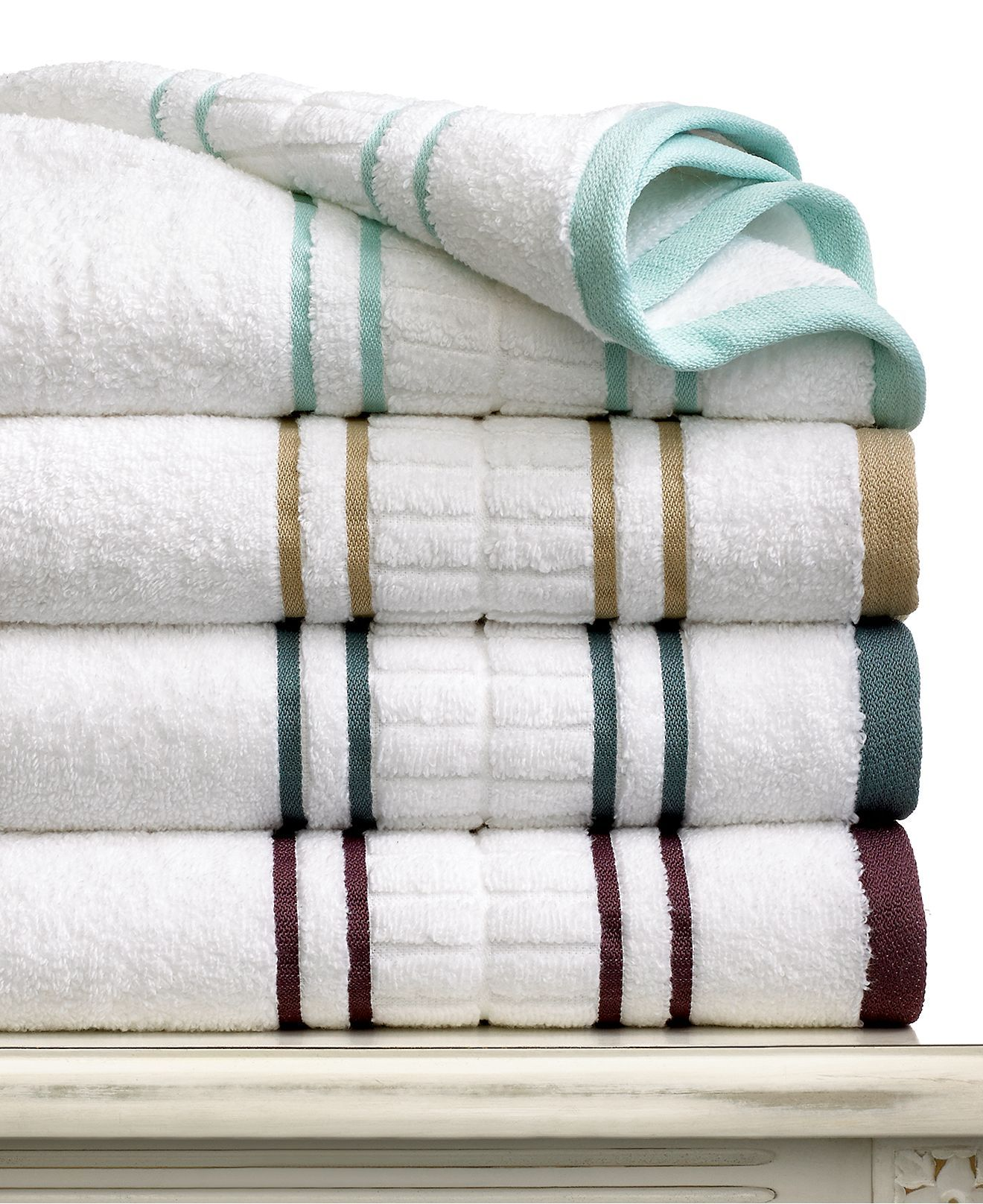 Martha Stewart Collection Plush Dobby Bath Towel Collection Bath