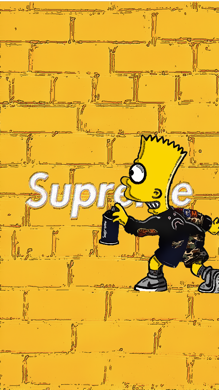 Supreme Bartxsupreme Yellow Supreme Wallpaper Hypebeast Wallpaper Bart Simpson Art