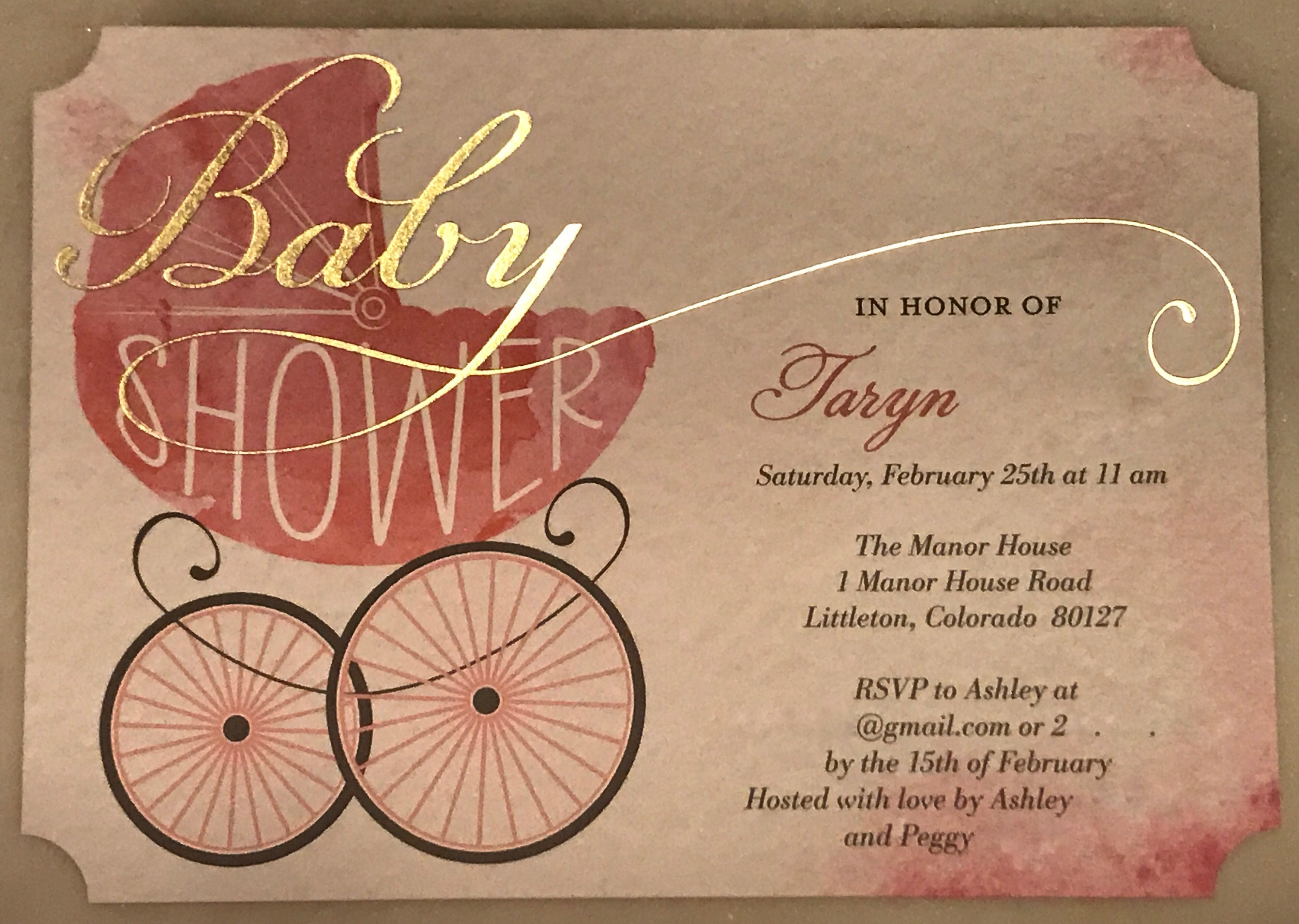 Pink and Gold Baby Shower Carriage/Pram Invitation from Tiny Prints ...