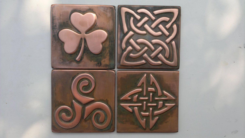 Celtic tiles celtic symbols set of copper celtic tiles celtic