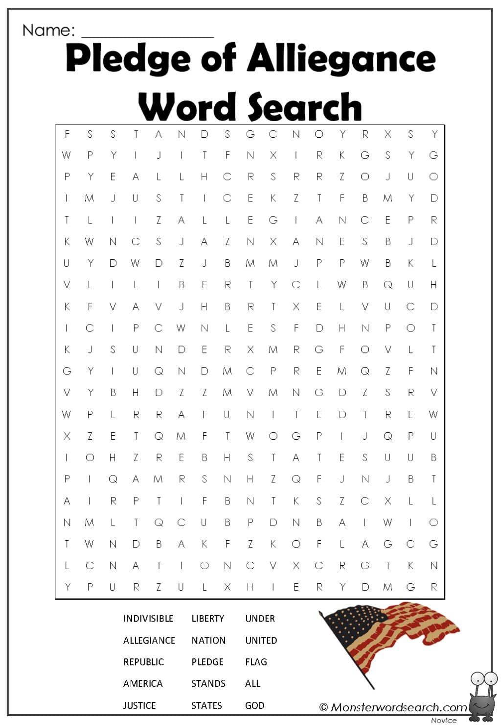 Pledge Of Alliegance Word Search In