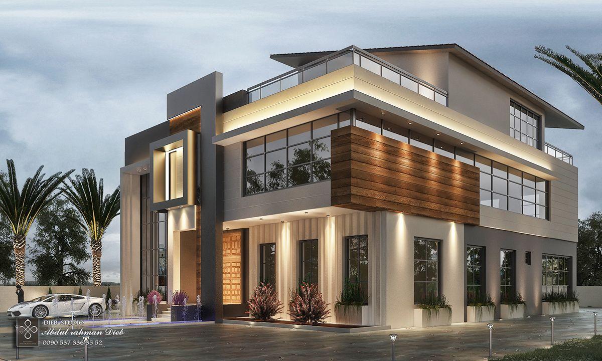 New Post Modern Villa In Oman On Behance Architecture Building Design House Architecture Styles Modern Villa Design