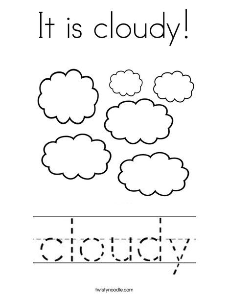 It Is Cloudy Coloring Page Twisty Noodle With Images Writing