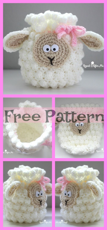 Cute Crochet Sheep Bag - Free Patterns #cutecrochet