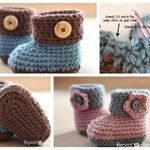 Wonderful DIY Crochet Cuffed Baby Booties with Free Pattern | WonderfulDIY