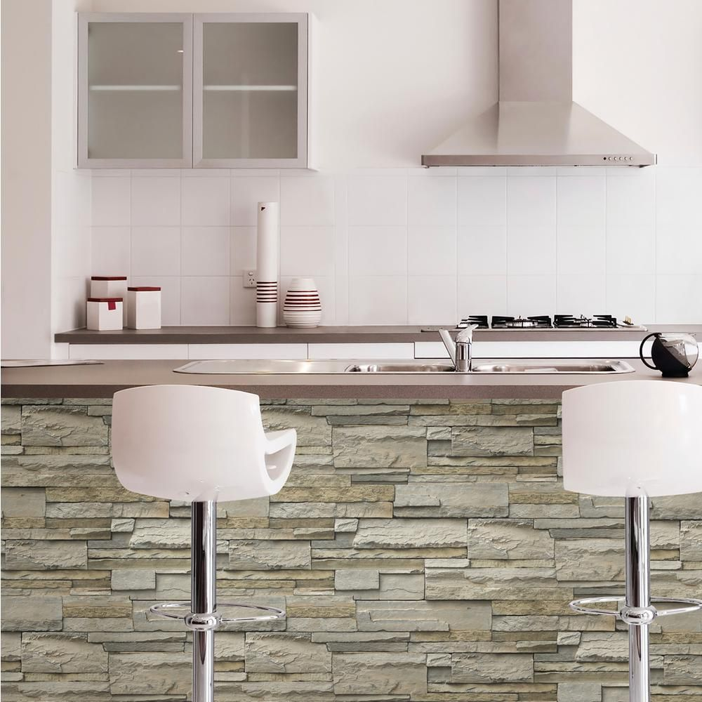 NuWallpaper 30.75 sq. ft. Stone NU2675 Peel and stick