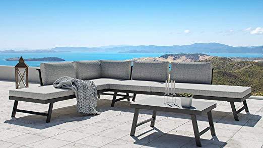 Amazon De Artelia Morino Luxus Loungemobel Set 5 Personen Modulares Premium Gartenmobel Set Rattan Furniture Set Outdoor Sectional Sofa Elegant Coffee Table