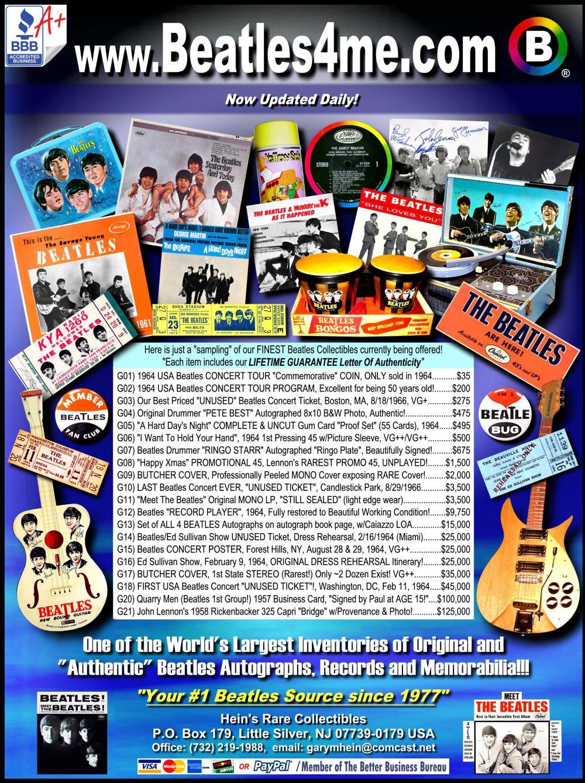Beatles records rare original autographs vinyl memorabilia beatle