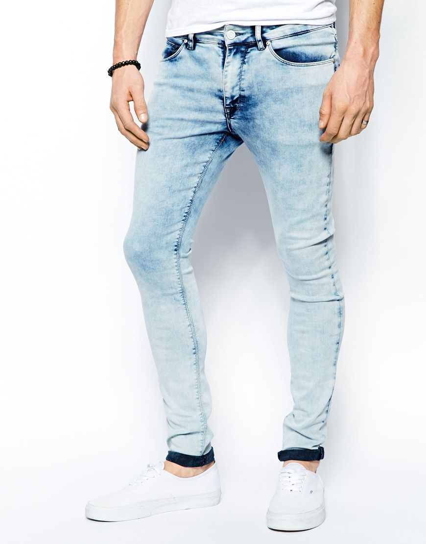 Extreme Super Skinny Jeans With Heavy Acid Wash - Light wash blue Asos