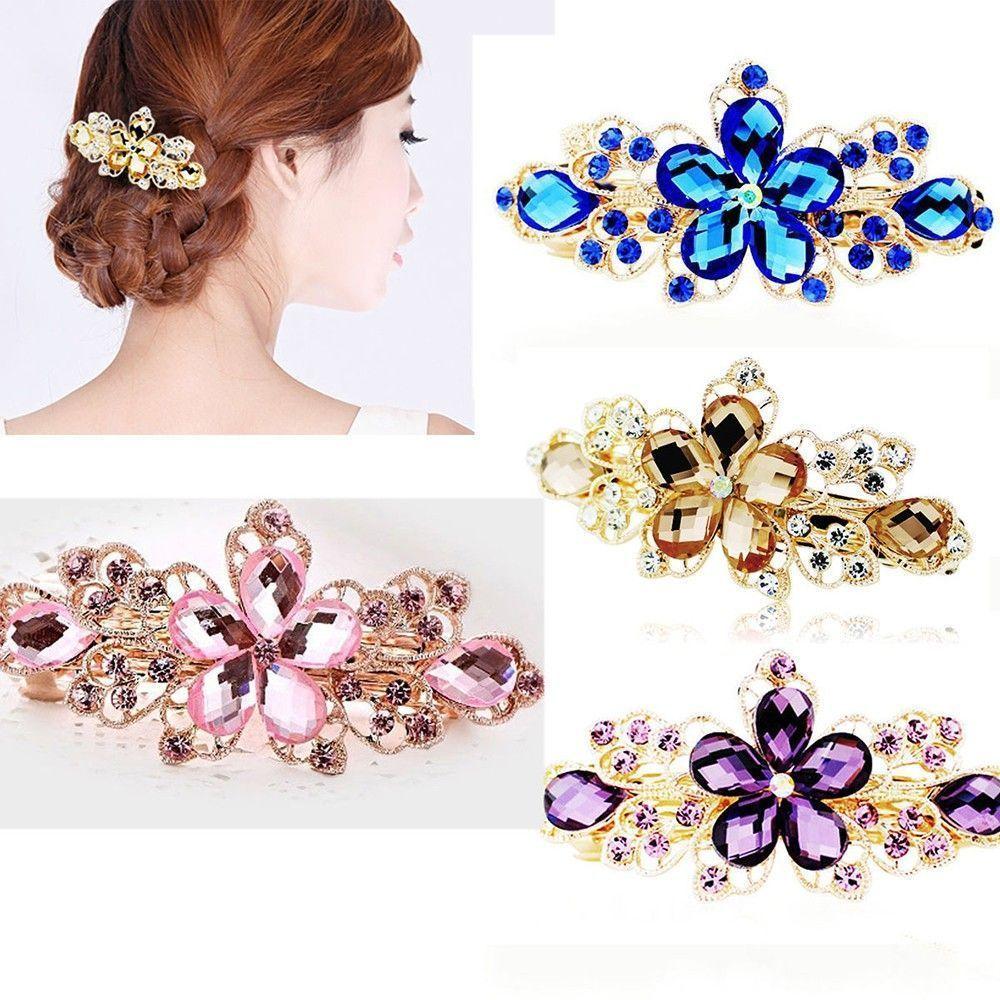 Rhinestone Twinkling Hair Clip Women Flower Hairpin Barrette Jewelry Tiara