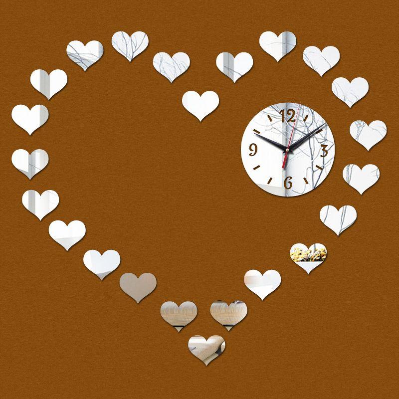 2015 limitada amor romântico acrílico de luxo moderno relógio de parede espelho de cristal 3d relógios sala frete grátis alishoppbrasil
