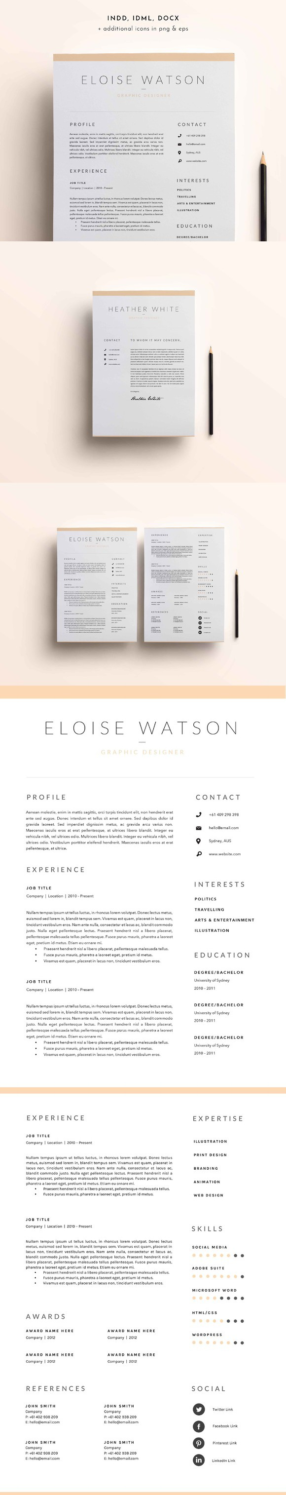 Page Resume Template  Indd  Docx Landing Pages Templates