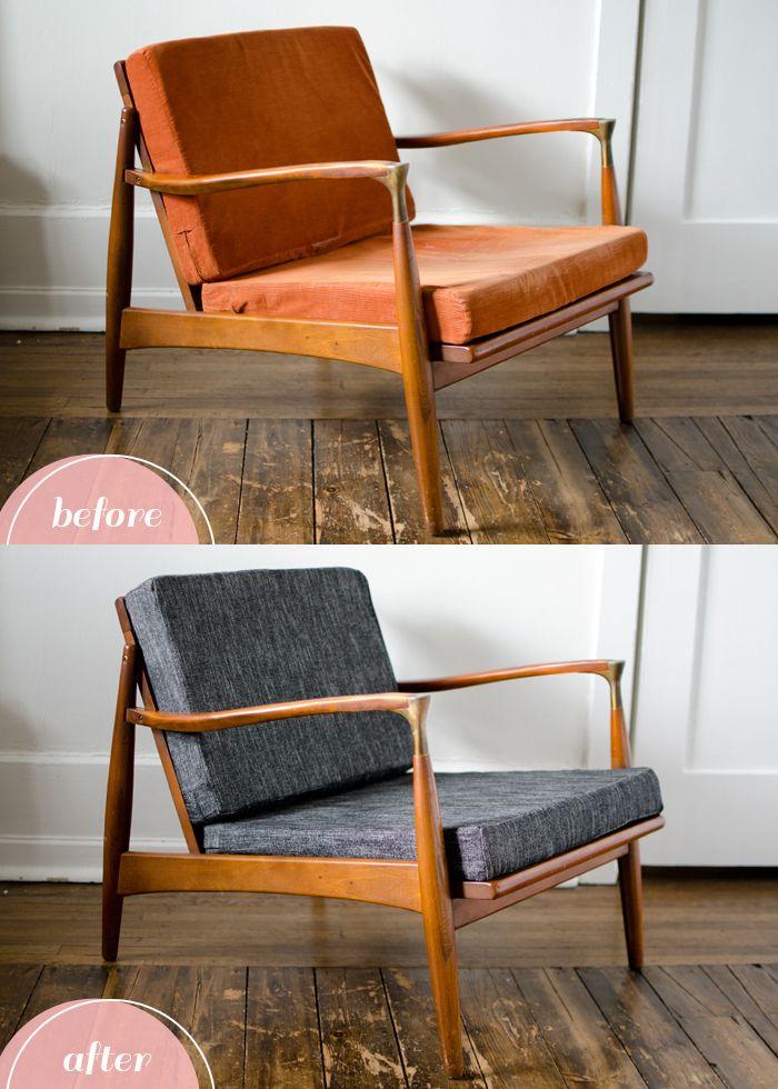 Box Cushion Makeover Furniture Makeover Mid Century Modern