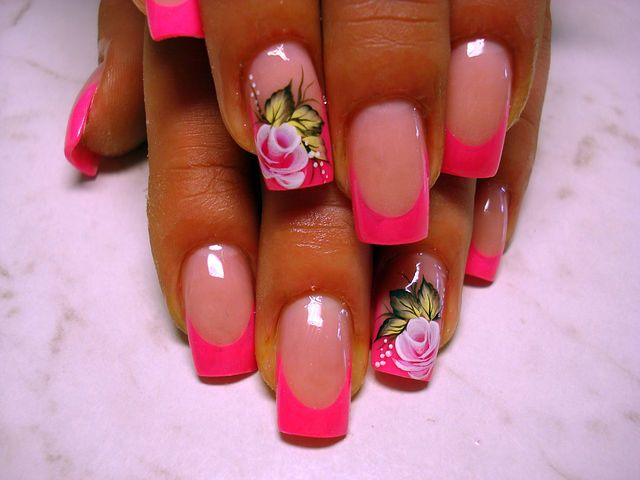 Beautiful nails 2016, Beautiful summer french nails, Exquisite nails, Flower French nails, French manicure with roses, Nails trends 2016, Party nails, Pattern nails