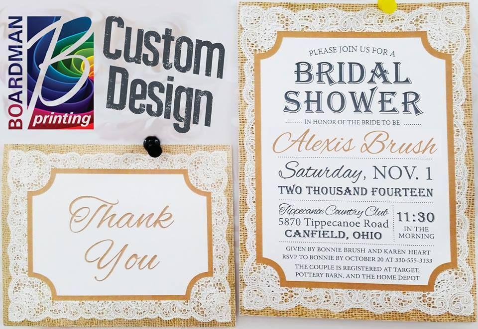 Boardman Printing specializes is custom bridal shower invitations