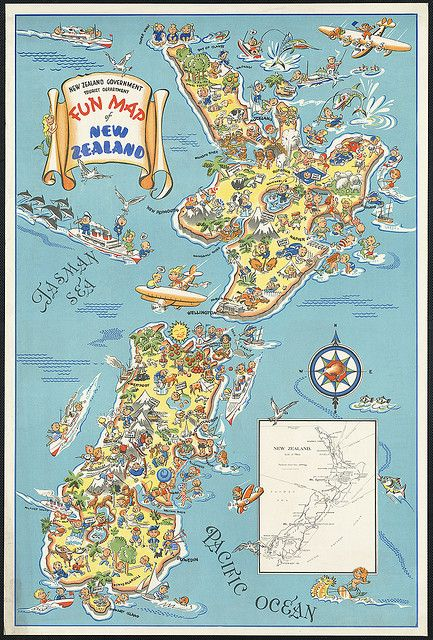 Fun map of New Zealand by Boston Public Library, via Flickr - on my bucket list