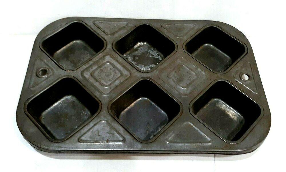 Antique Vintage Ekco 61 Square Muffin Tin Chicago New