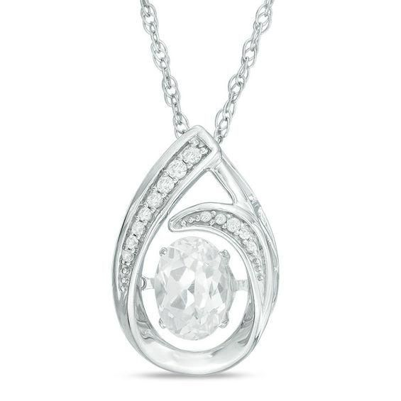 Zales Unstoppable Love 5.0mm Lab-Created Emerald and White Sapphire Flame Pendant in Sterling Silver Oh7I5Iqe