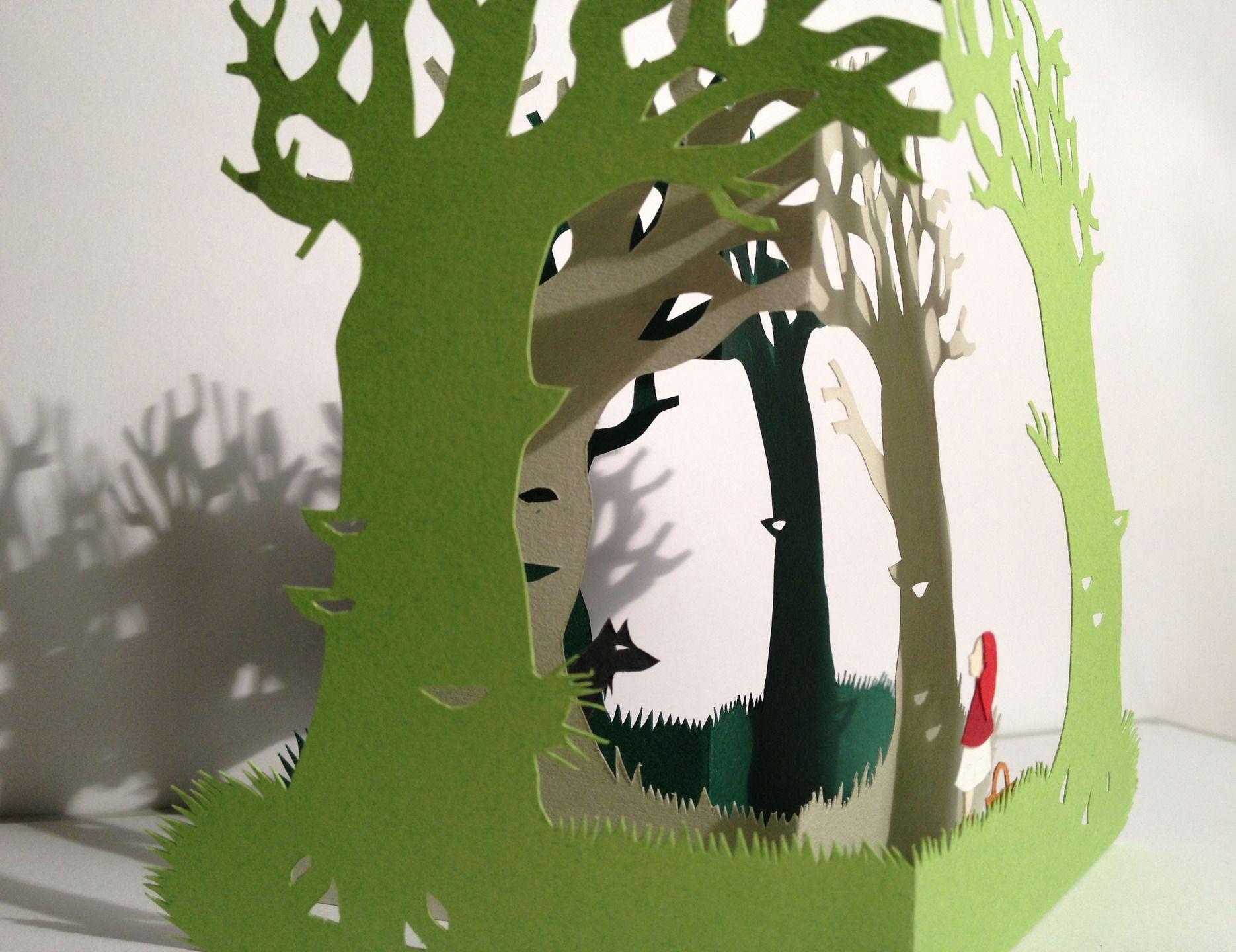 Promenons nous, dans les bois Le petit chaperon rouge for u00eat verte, carte pop up en papier de