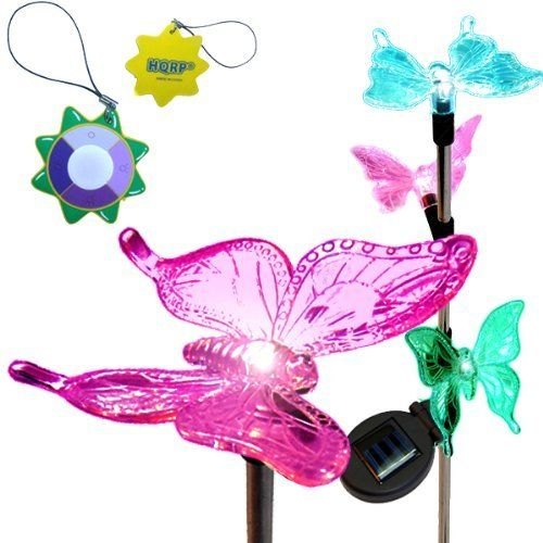 Lights Plus Decor: HQRP Changing Multi-Color Butterflies Flakes, Solar Power