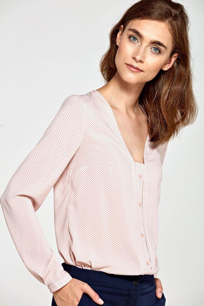 dda293397a29c Détails sur Chemisier haut blouse femme rose pois décolleté V manches  longues NIFE B80 in 2019 | Chemises chemisiers femme | Blouse femme,  Chemisier, Femme