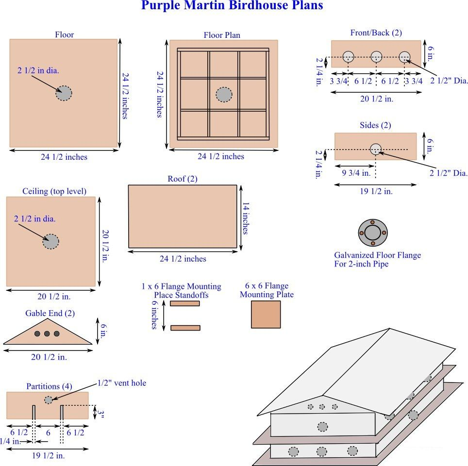 Drawings Of The Parts Required To Build Multi Level Purple Martin Apartment Houses Bird House Plans Free Purple Martin House Plans Purple Martin House