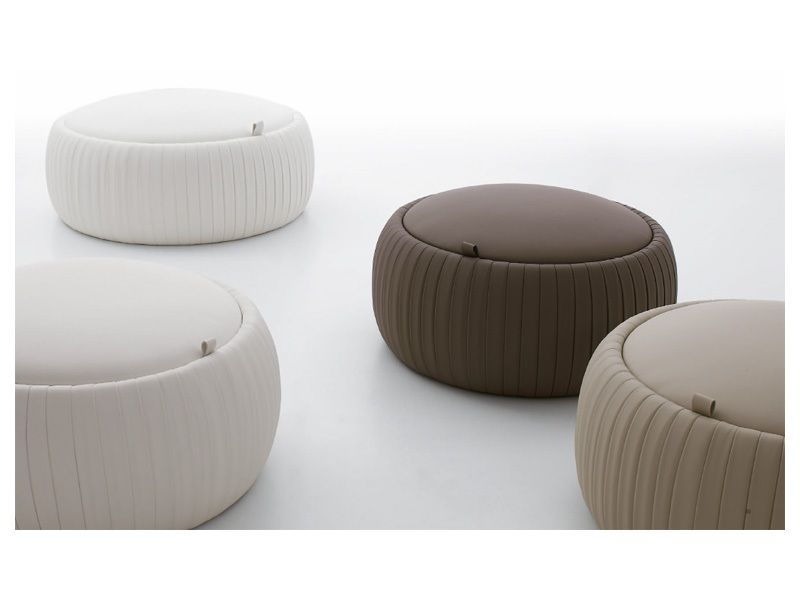 Pouf Design Pelle.Pouf In Ecopelle Pouf Con Contenitore Pouf Tondo Ufficio