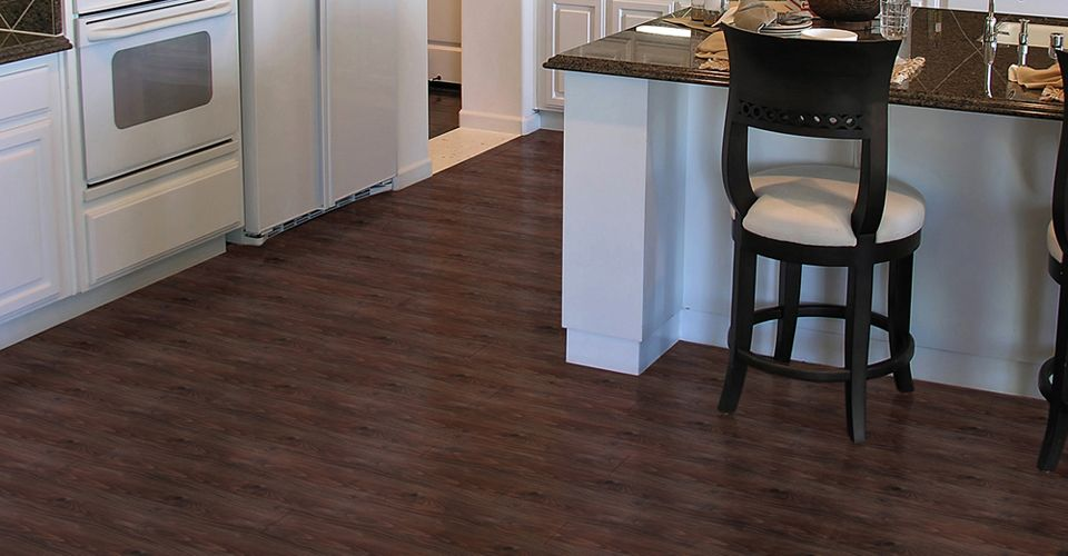 Dark Walnut With Easy Gripstrip Installation Vinyl Plank Resilient Flooring Has Never Been This