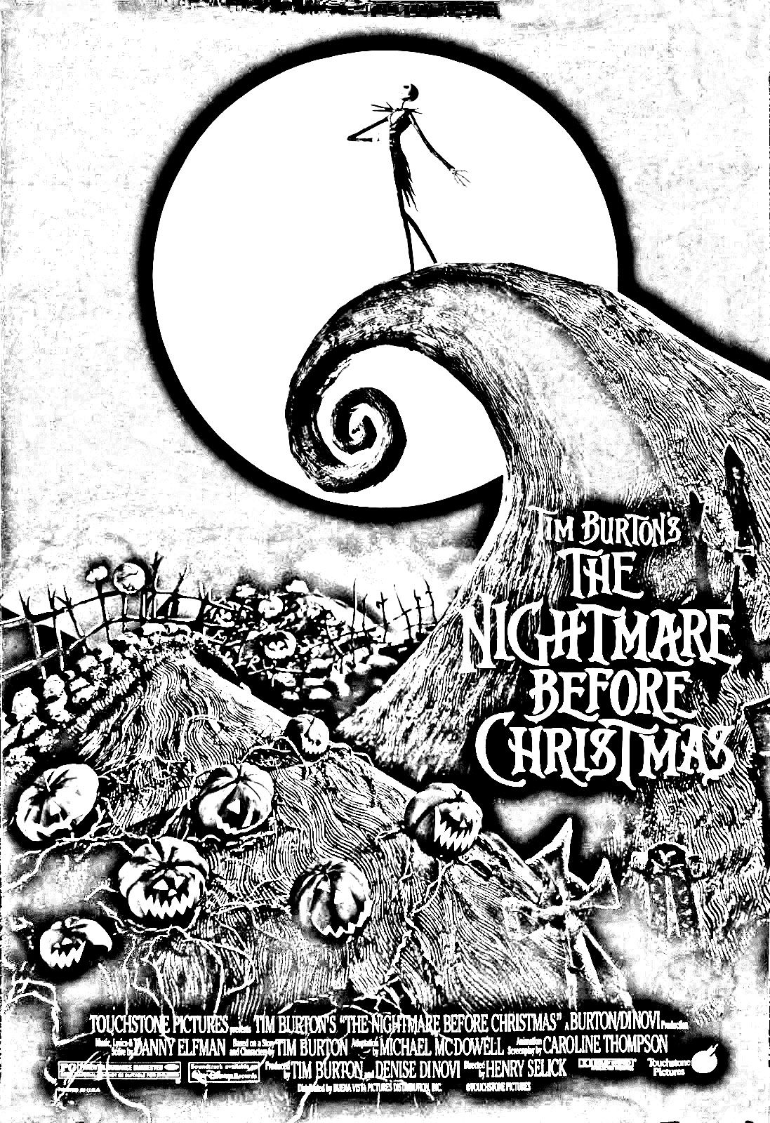 pin by gorgina kincaid on coloriages letrange noel de mr jack pinterest - Nightmare Before Christmas Coloring Book