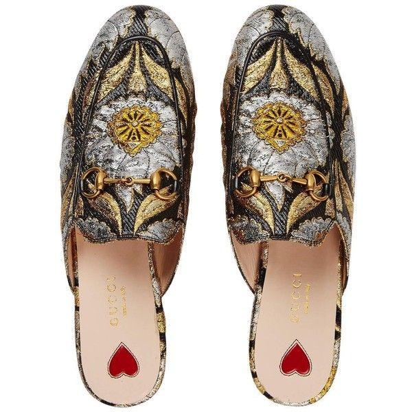 d4d227184 Gucci Black Princetown Gold Silver Jacquard Slide Loafer Mule Slipper...  ($713) ❤ liked on Polyvore featuring shoes, black shoes, black flat shoes,  gucci ...