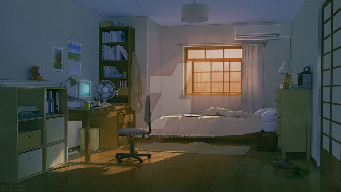 Anime Bedroom By Shinasty Bedroom Drawing Living Room Background Bedroom Illustration Living room drawing anime