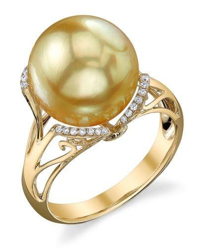 Golden Pearl & Diamond Joana Ring http://www.thepearlsource.com/Golden-Pearl-Diamond-Joana-Ring_96_collection_1964.htm